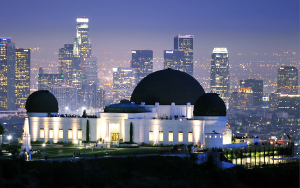 The Griffith Observatory is seen at dusk in Los Angeles, California on August 23, 2011